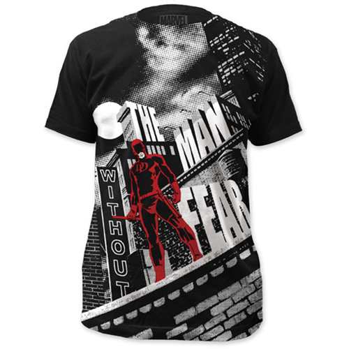 Daredevil The Man Without Fear Big Print Black T-Shirt