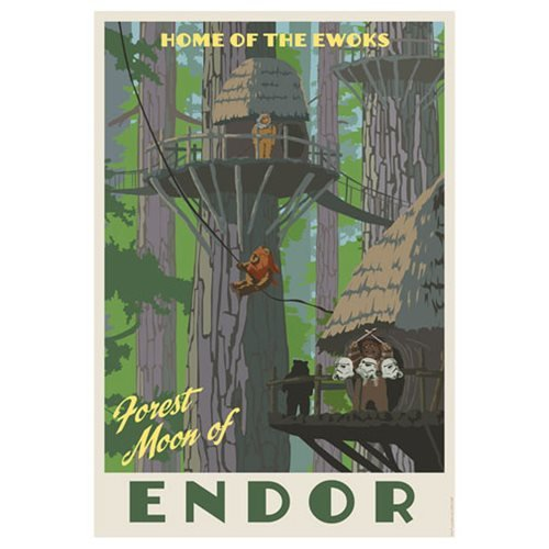 Star Wars Home of the Ewoks by Steve Thomas Paper Giclee Art Print