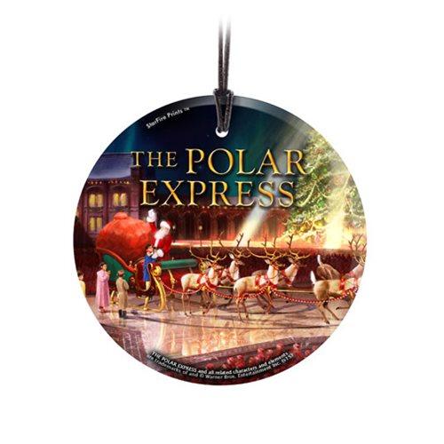 Polar Express Sleigh Starfire Prints Hanging Glass Ornament