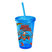 Superman Man of Steel Blue Plastic Travel Cup