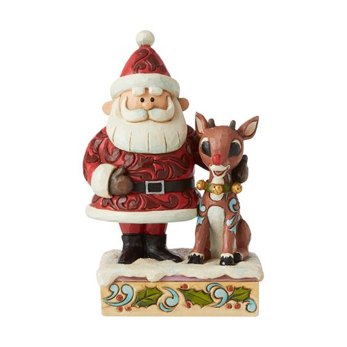 Rudolph the Red-Nosed Reindeer Santa Hugging Rudolph Lighted Statue by Jim Shore