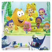 Bubble Guppies Chair Rail Giant Ultra-Strippable Prepasted Mural