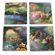 Alice in Wonderland Thomas Kinkade StarFire Prints Glass Coaster Set