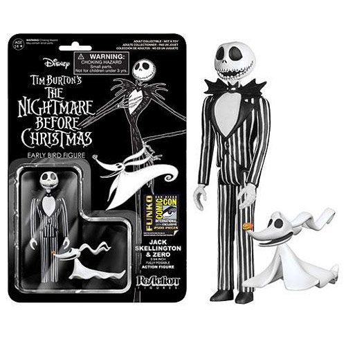 SDCC Exclusive Nightmare Before Christmas Jack Skellington with Zero ReAction 3 3/4-Inch Action Figure