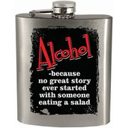 No Great Story Started With Salad Hip Flask