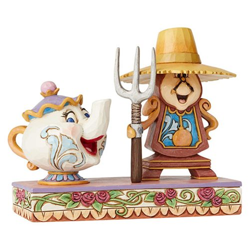 Disney Traditions Beauty and the Beast Cogsworth and Mrs. Potts Workin' Round the Clock by Jim Shore Statue