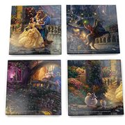 Beauty and the Beast Thomas Kinkade Starfire Prints Glass Coaster Set