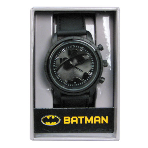Batman Gray and Gunmetal Logo Side Emblem Strap Watch