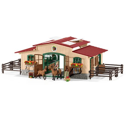 Farm World Stable with Horses and Accessories Playset