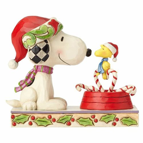 Peanuts by Jim Shore Snoopy and Woodstock Candy Cane Christmas Statue