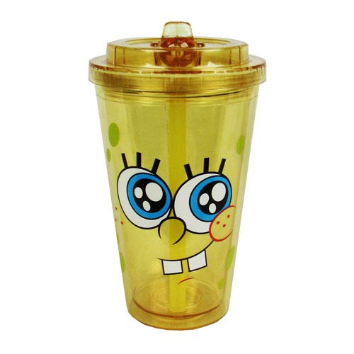 SpongeBob SquarePants Tongue and Cheek Plastic Flip Straw Cold Cup
