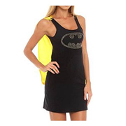 Batman Batgirl Nightgown with Cape and Studded Logo