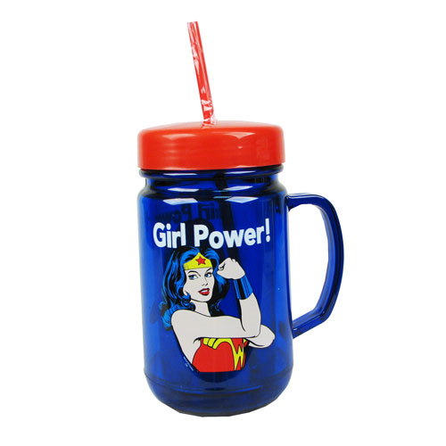 Wonder Women Girl Power 24 oz. Plastic Mason Jar