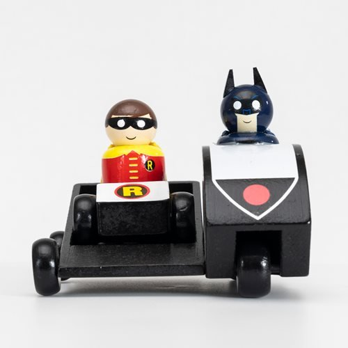 Batman Classic TV Series Batcycle with Batman and Robin Wooden Collectible Pin Mates Set - Conventio