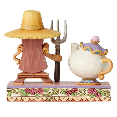 Disney Traditions Beauty and the Beast Cogsworth and Mrs. Potts Workin' Round the Clock by Jim Shore