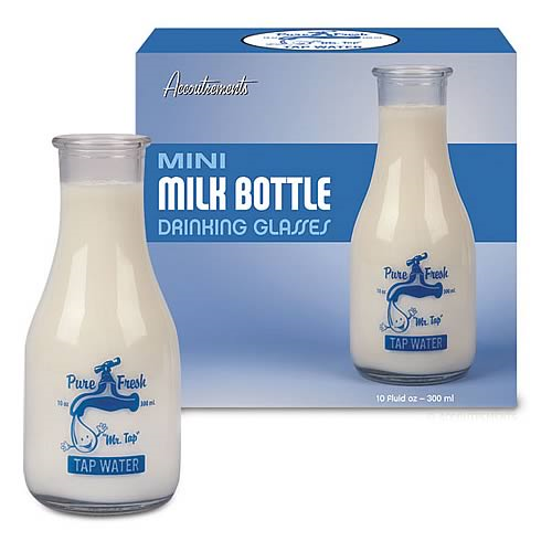 Mr. Tap Mini Milk Bottle Drinking Glass 2-Pack