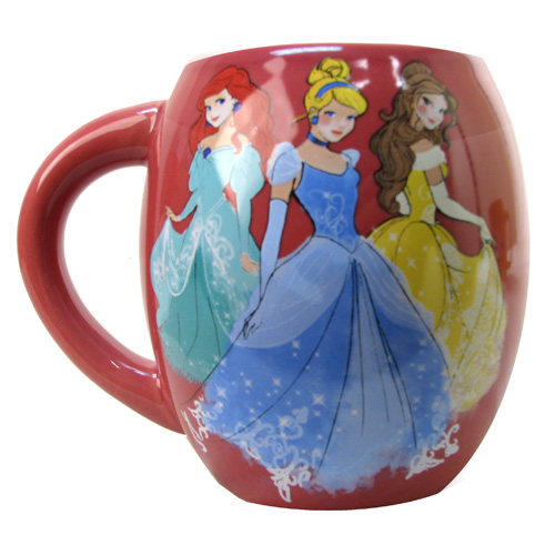Disney Princessess Ariel, Cinderella, and Belle 18 oz. Ceramic Oval Mug