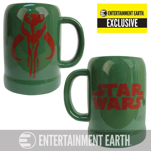 Star Wars Boba Fett Mandalorian Symbol 20 oz. Ceramic Stein - Entertainment Earth Exclusive