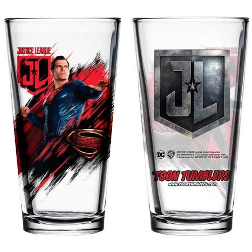 Justice League Movie Superman Toon Tumbler Pint Glass