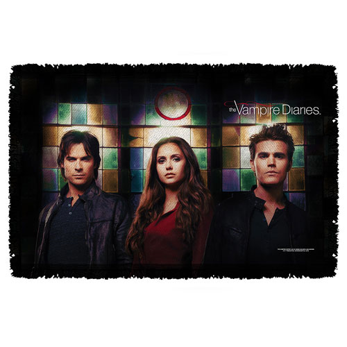Vampire Diaries Stained Glass Woven Tapestry Throw Blanket