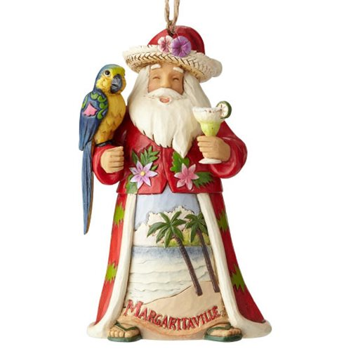 Margaritaville Santa with Parrot Heartwood Creek Ornament by Jim Shore