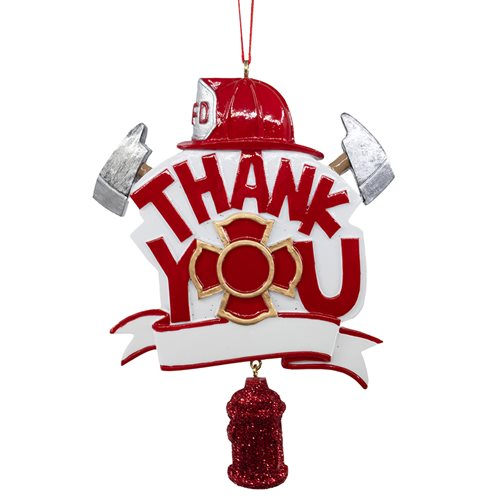 Thank You Fireman 4 1/2-Inch Resin Ornament