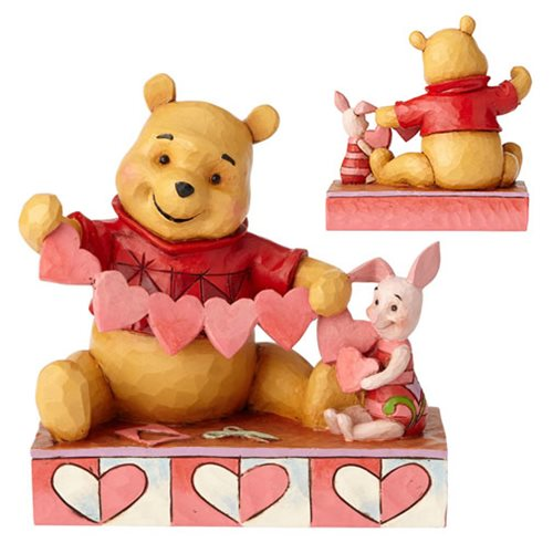 Disney Traditions Winnie the Pooh and Piglet Heart Handmade Valentines Statue