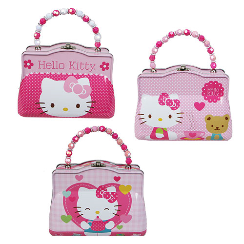 Hello Kitty Tin Tote Handbag Lunch Box with Beaded Handle Set ... 4a01f0eb021b1