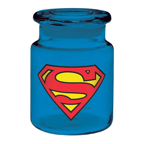 Superman Logo 6 oz. Blue Glass Apothecary Jar