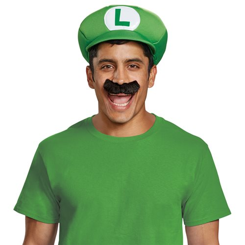 Super Mario Bros. Luigi Adult Hat & Mustach Roleplay Accessory Set