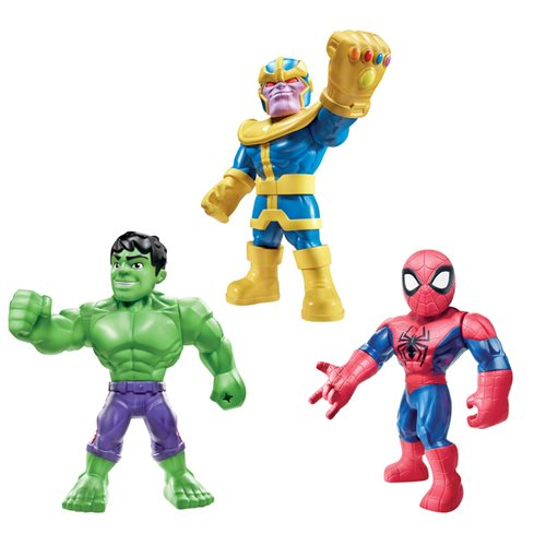 Marvel Super Hero Adventures Mega Mighties Spider-Man, Thanos, and Hulk 10-Inch Action Figures, Not Mint