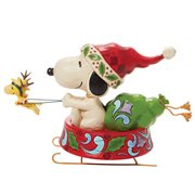 Peanuts Santa Snoopy in Dog Bowl Sled Dashing Through the Holidays by Jim Shore Statue
