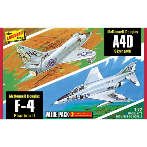 Vietnam Era Fighters F-4G Phantom and A4D Skyhawk 2-Pack 1:72 Scale Model Kit