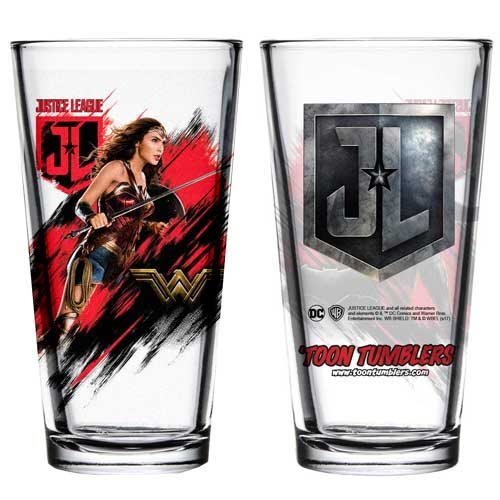 Justice League Movie Wonder Woman Toon Tumbler Pint Glass