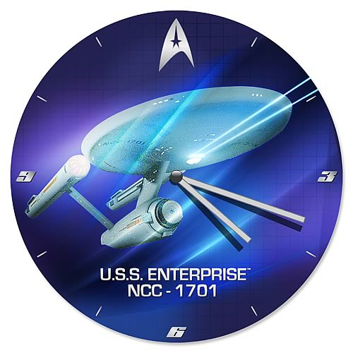 Star Trek TOS U.S.S. Enterprise NCC-1701 Wood Wall Clock