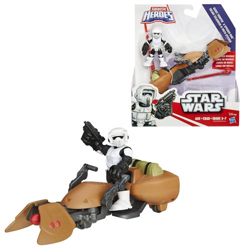 Star Wars Galactic Heroes Speeder Bike and Scout Trooper, Not Mint
