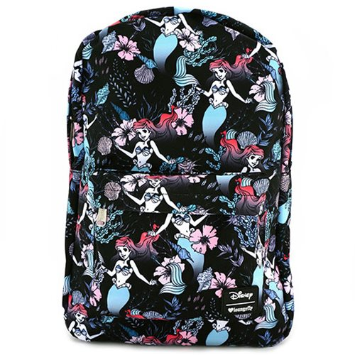The Little Mermaid Ariel Floral Print Nylon Backpack