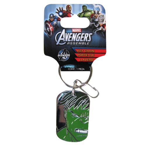 Avengers Assemble Marvel The Hulk Face Dog Tag Key Chain