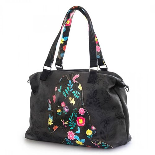 Alice in Wonderland Printed Applique Faux-Leather Tote Purse