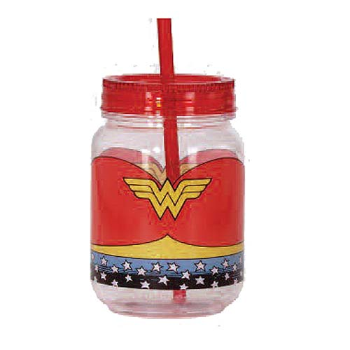 Wonder Woman Acrylic 18 oz. Mason-Style Jar with Lid