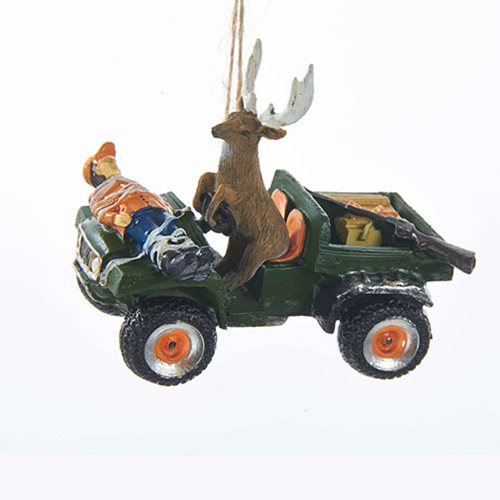 Deer Driving Hunter 3 1/4-Inch Resin Ornament