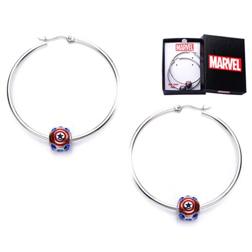 Captain America Logo Bead Hoop Earrings