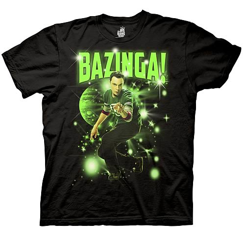 Big Bang Theory Sheldon Bazinga! Stars Black T-Shirt