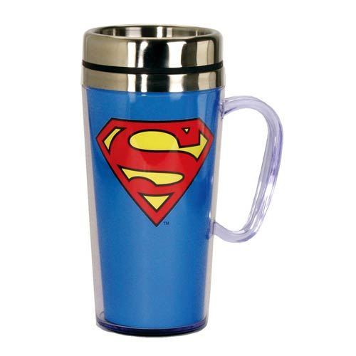 Superman Insulated Blue Travel Mug with Handle