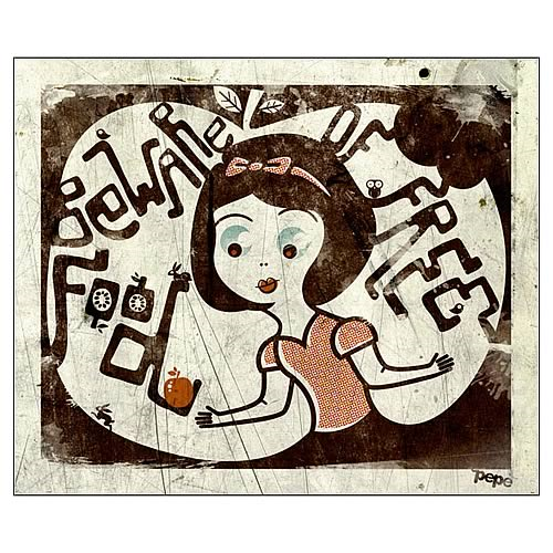 Snow White Beware of Free Food Canvas Giclee Print
