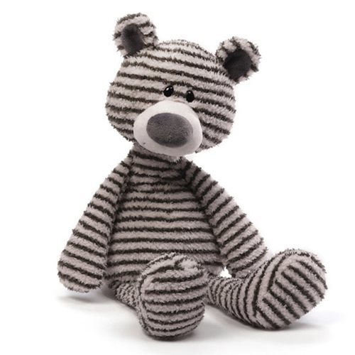 Zag Gray-and-White Striped Teddy Bear 16-Inch Plush
