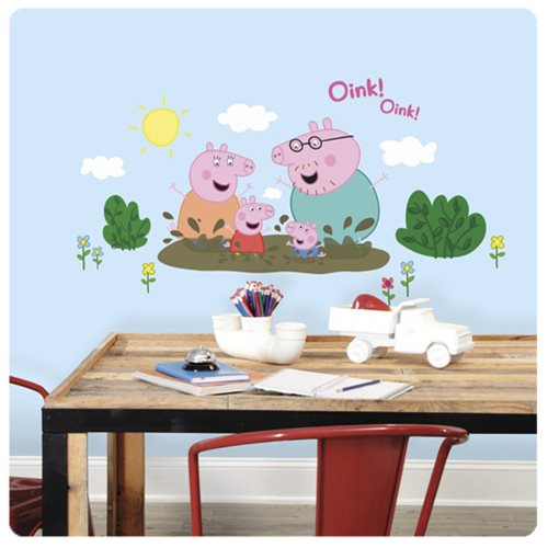Peppa Pig and Family Muddy Puddles Peel and Stick Giant Wall Decals