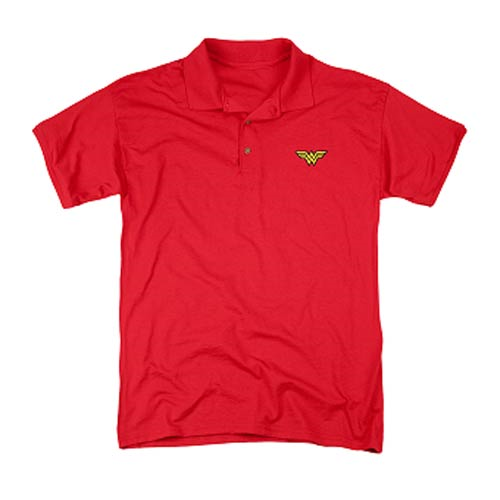 Wonder Woman Logo Embroidered Patch Polo T-Shirt