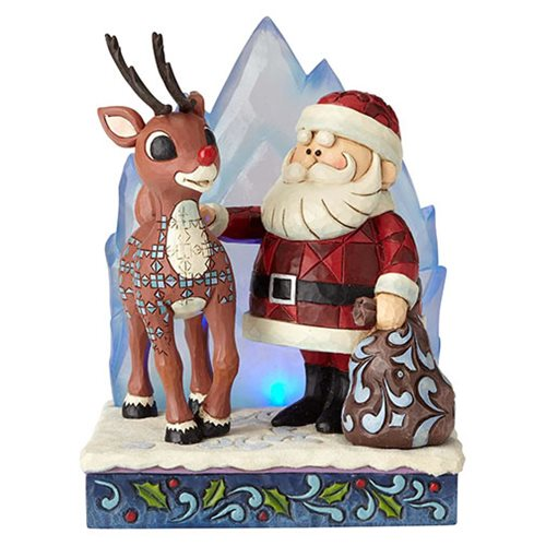 Rudolph the Red-Nosed Reindeer Rudolph and Santa with Iceberg Statue by Jim Shore