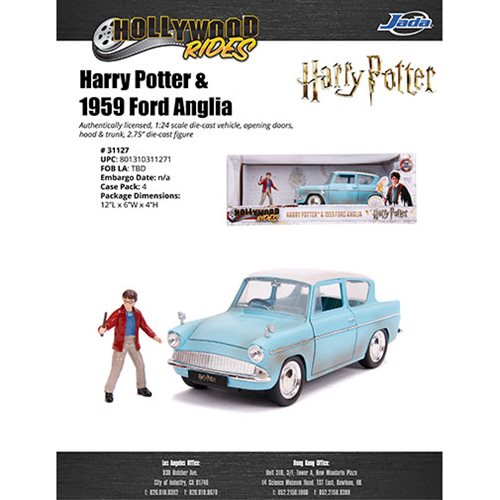 Hollywood Rides Harry Potter 1959 Ford Anglia 1:24 Scale Die-Cast Metal Vehicle with Figure